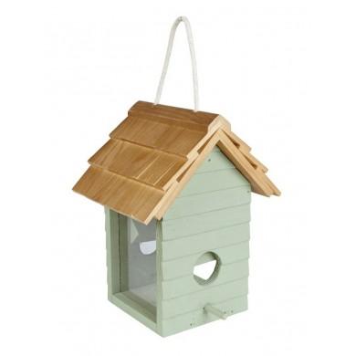 Дървена хранилка за диви птици