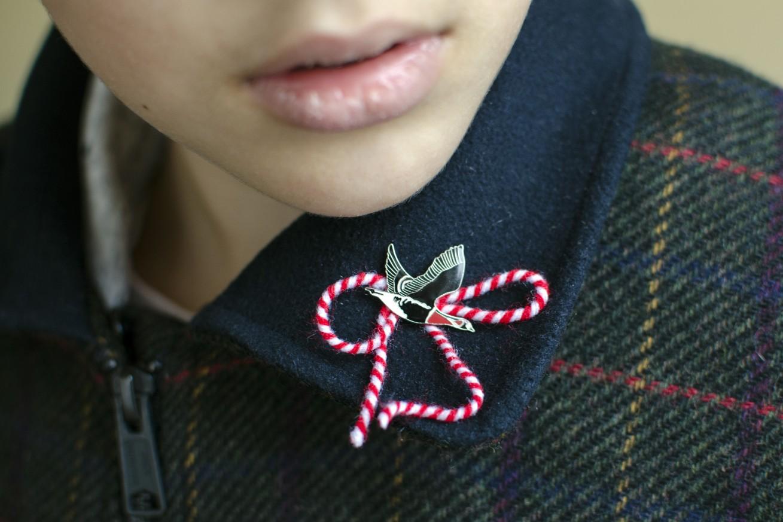 Мартеничка-значка червеногуша гъска
